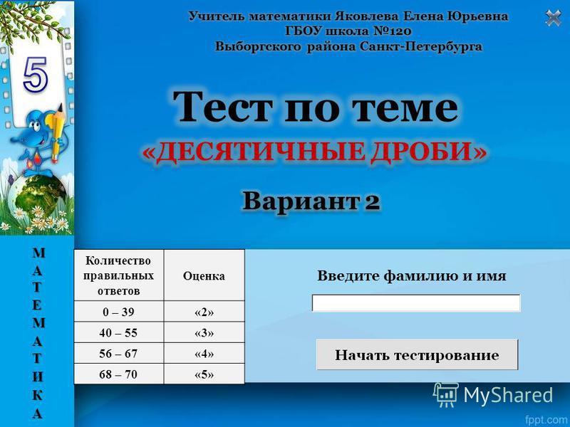 Введите фамилию и имя Количество правильных ответов Оценка 0 – 39«2» 40 – 55«3» 56 – 67«4» 68 – 70«5»