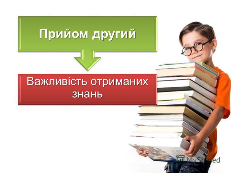 Прийом другий Важливість отриманих знань