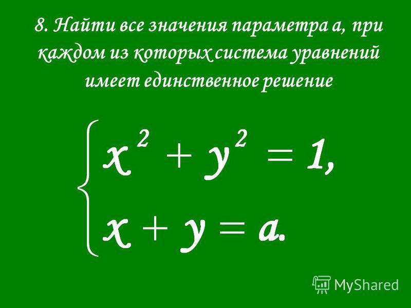 8. Найти все значения параметра а, при каждом из которых система уравнений имеет единственное решение
