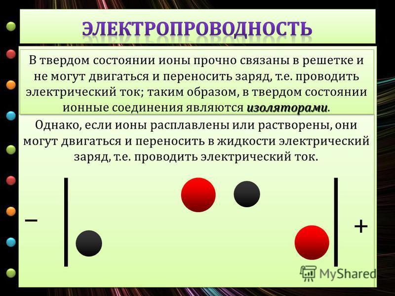 Однако, если ионы расплавлены или растворены, они могут двигаться и переносить в жидкости электрический заряд, т. е. проводить электрический ток. изоляторами В твердом состоянии ионы прочно связаны в решетке и не могут двигаться и переносить заряд, т