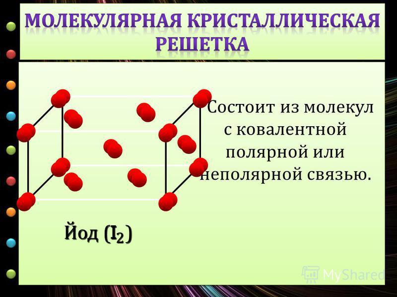 С остоит и з молекул с ковалентной полярной и ли неполярной с вязью. Йод (I ) 2