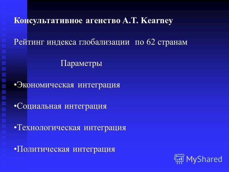 Консультативное агентство A.T. Kearney Рейтинг индекса глобализации по 62 странам Параметры Экономическая интеграция Социальная интеграция Технологическая интеграция Политическая интеграция