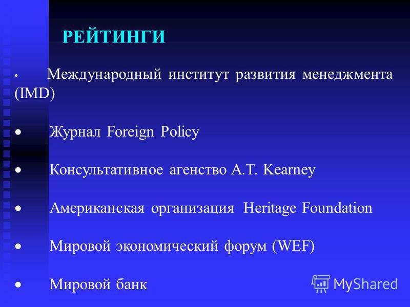 РЕЙТИНГИ Международный институт развития менеджмента (IMD) Журнал Foreign Policy Консультативное агентство A.T. Kearney Американская организация Heritage Foundation Мировой экономический форум (WEF) Мировой банк