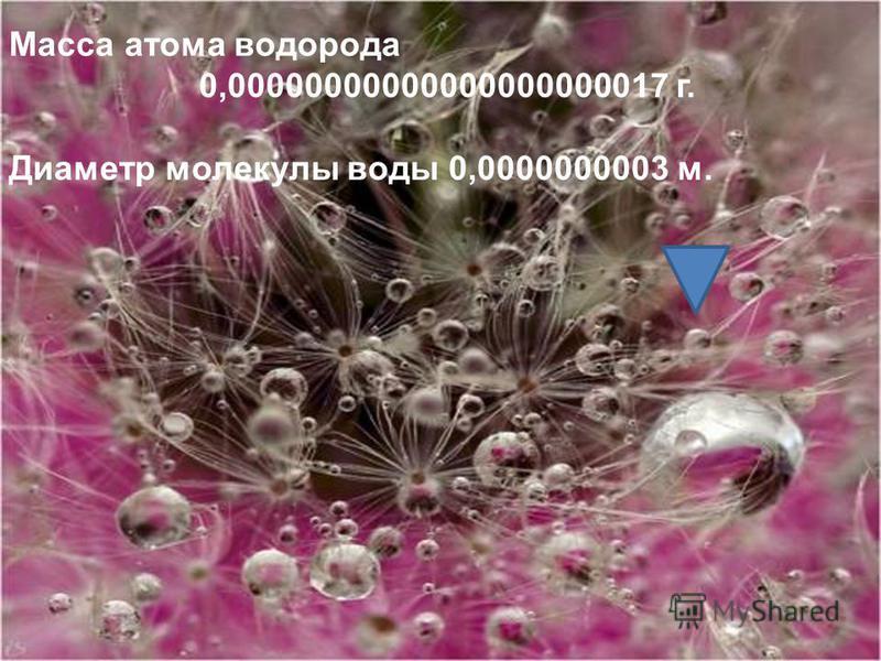 Масса атома водорода 0,00000000000000000000017 г. Диаметр молекулы воды 0,0000000003 м.
