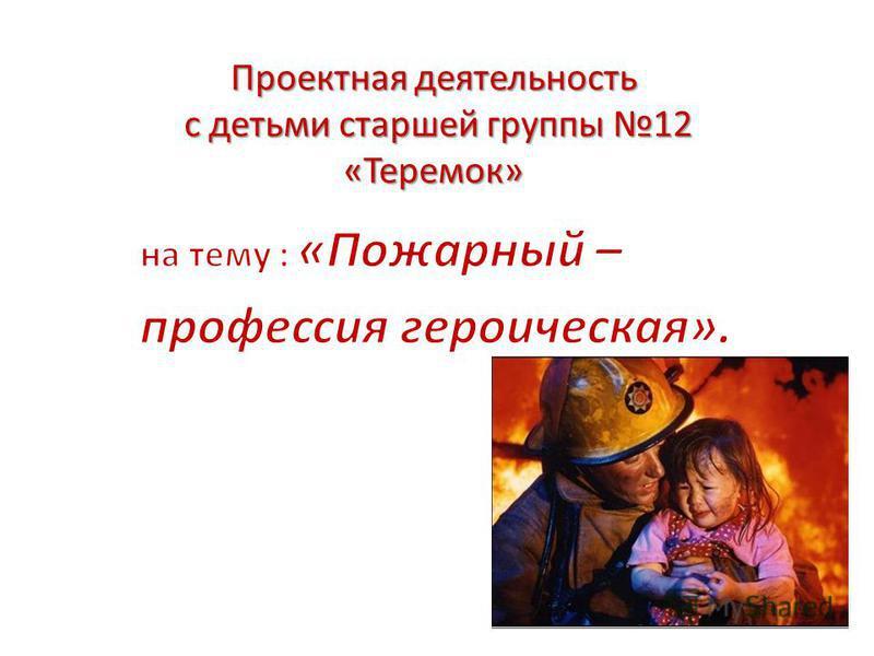 Проектная деятельность с детьми старшей группы 12 «Теремок»
