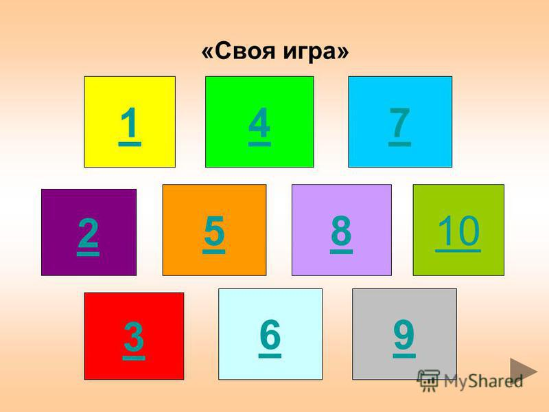 «Своя игра» 1 3 2 4 8 5 6 7 9 10