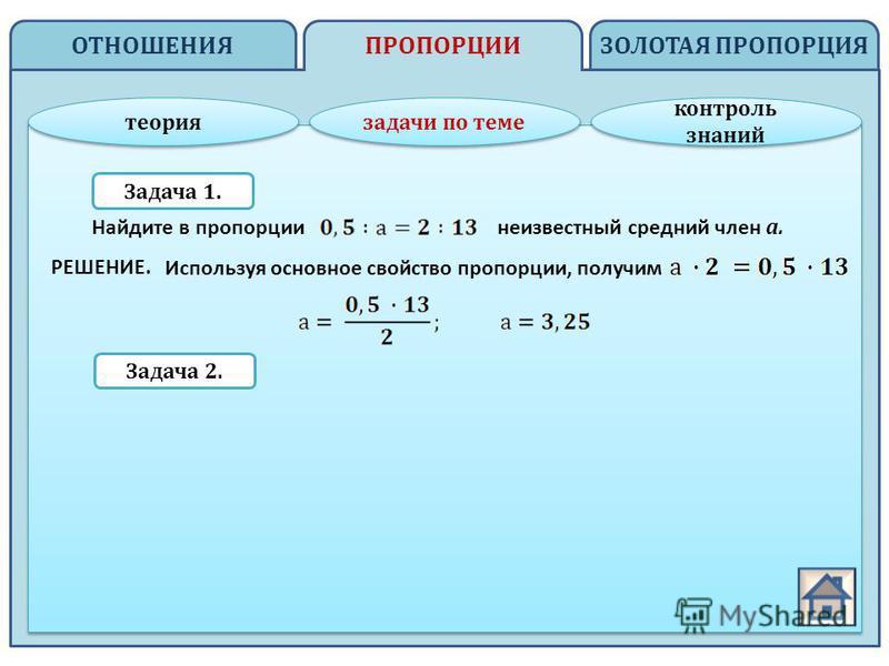 ОТНОШЕНИЯ ЗОЛОТАЯ ПРОПОРЦИЯПРОПОРЦИИ теория задачи по теме контроль знаний контроль знаний Задача 1. Задача 2. Найдите в пропорции неизвестный средний член а. Используя основное свойство пропорции, получим РЕШЕНИЕ.