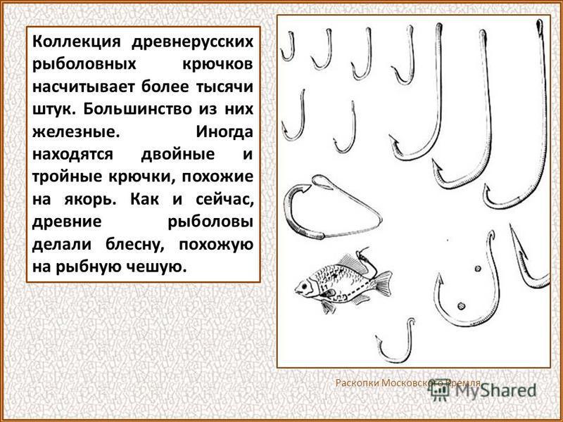 Например, очень был развит рыбный промысел. Повсюду, где археологи проводили раскопки древнерусских поселений, находились различные орудия рыбной ловли, чешуя и кости рыб. Поселение славян