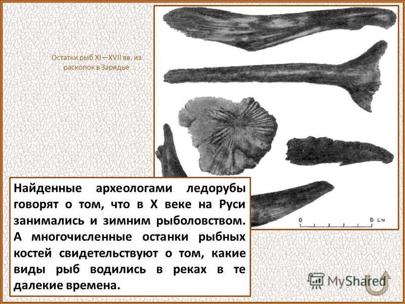 Коллекция древнерусских рыболовных крючков насчитывает более тысячи штук. Большинство из них железные. Иногда находятся двойные и тройные крючки, похожие на якорь. Как и сейчас, древние рыболовы делали блесну, похожую на рыбную чешую. Раскопки Москов