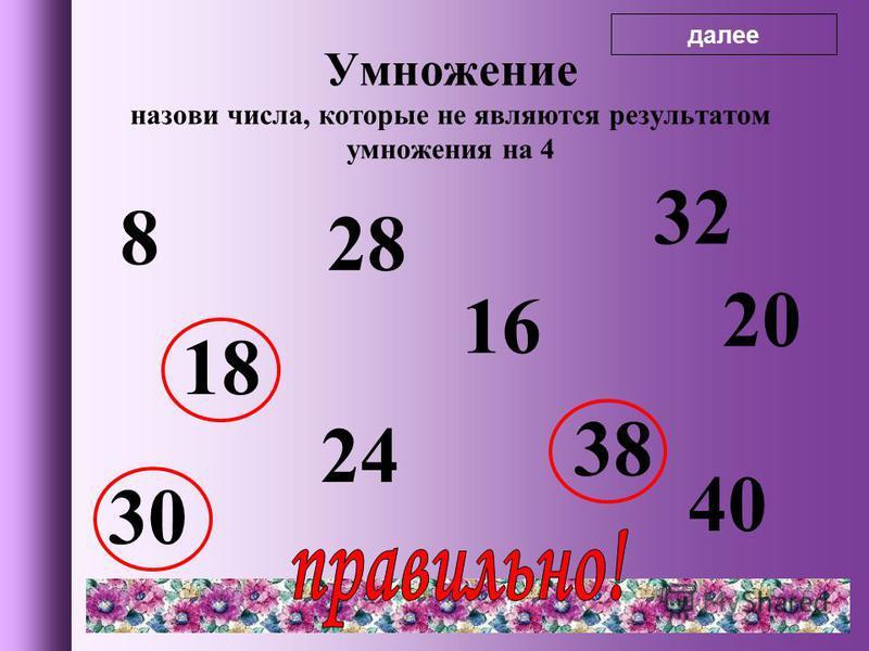 8 18 28 24 16 32 38 20 30 40 Умножение назови числа, которые не являются результатом умножения на 4 далее