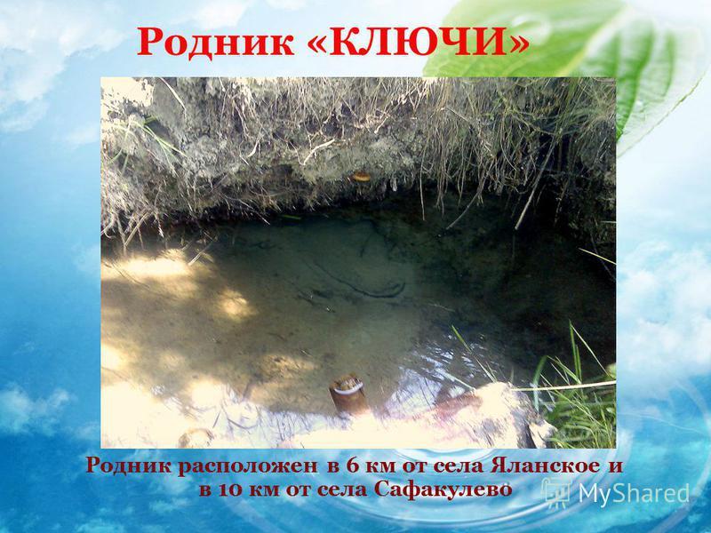 Родник «КЛЮЧИ» Родник расположен в 6 км от села Яланское и в 10 км от села Сафакулево