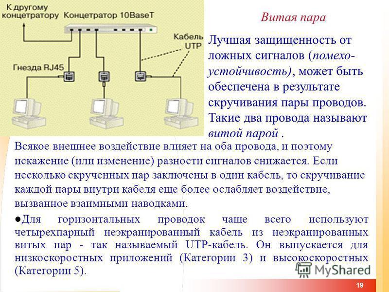 19 Витая пара Лучшая защищенность от ложных сигналов (помехоустойчивость), может быть обеспечена в результате скручивания пары проводов. Такие два провода называют витой парой. Всякое внешнее воздействие влияет на оба провода, и поэтому искажение (ил