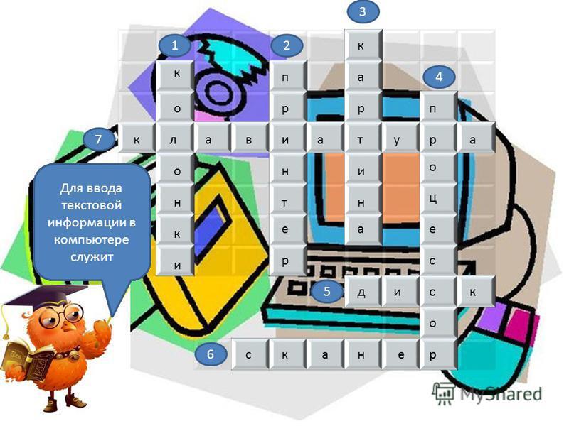 Для вывода звуковой информации используют клавиатура п р н т е р и к а р и н а т п р о ц е с с о р к о о н к и л дикс сканер 12 3 4 5 6 7 Для вывода информации на бумагу служит Визуальную информацию несет В каком устройстве ПК производится обработка