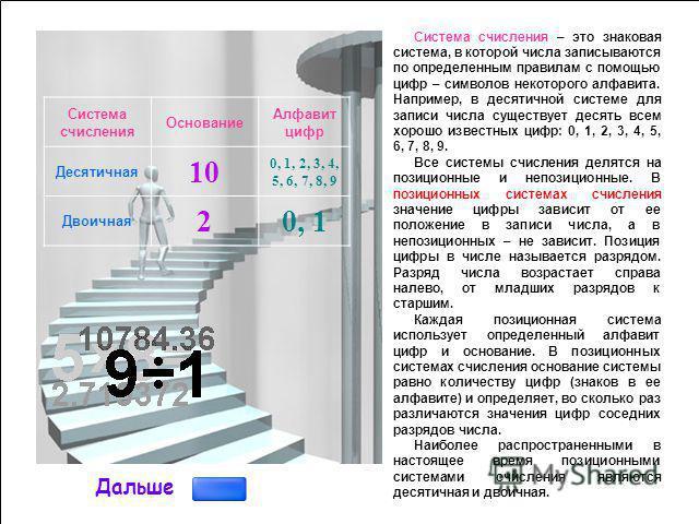 Позиционные и непозиционные системы счисления Назад Восьмеричная система счисления Шестнадцатеричная система счисления Двоичная система счисления Количество информации