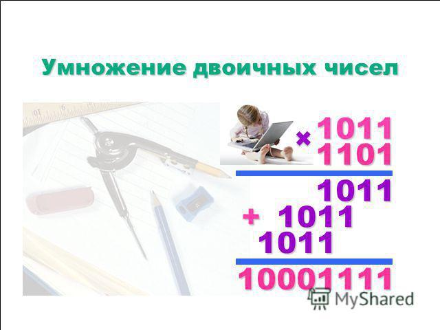 1111 0000 0000 1111 0000 1111 0000 1111 0000 1111 1111 0000 1111 1111 0000 0000 0000 0000 1111 0000 1111 0000 0000 1111 –––– Вычитание двоичных чисел Вычитание двоичных чисел 1111 0000 ---- 1111 ==== 1111