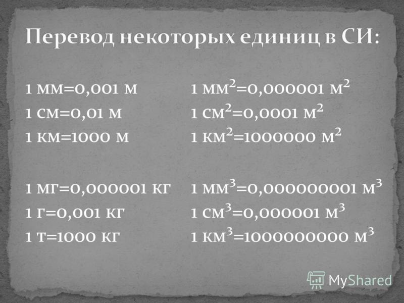 1 мм=0,001 м 1 см=0,01 м 1 км=1000 м 1 мм²=0,000001 м² 1 см²=0,0001 м² 1 км²=1000000 м² 1 мг=0,000001 кг 1 г=0,001 кг 1 т=1000 кг 1 мм³=0,000000001 м³ 1 см³=0,000001 м³ 1 км³=1000000000 м³
