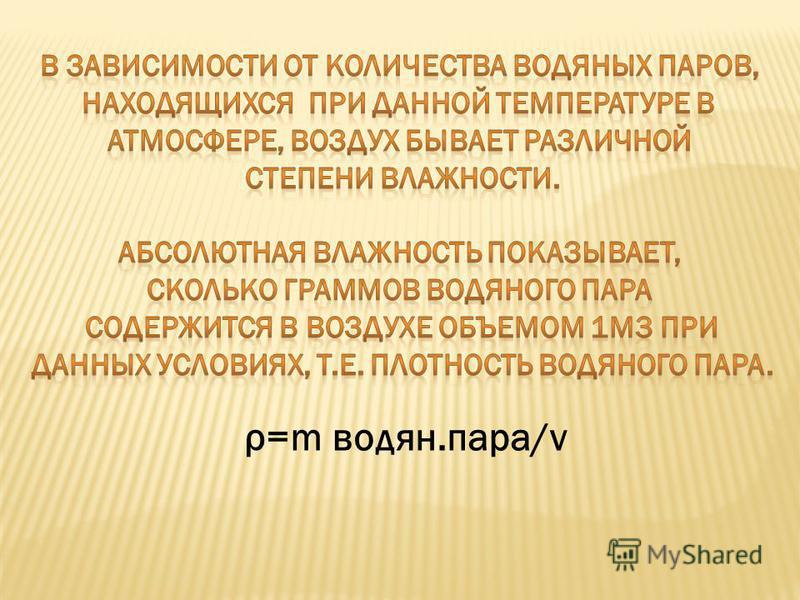 ρ=m водян.пара/v