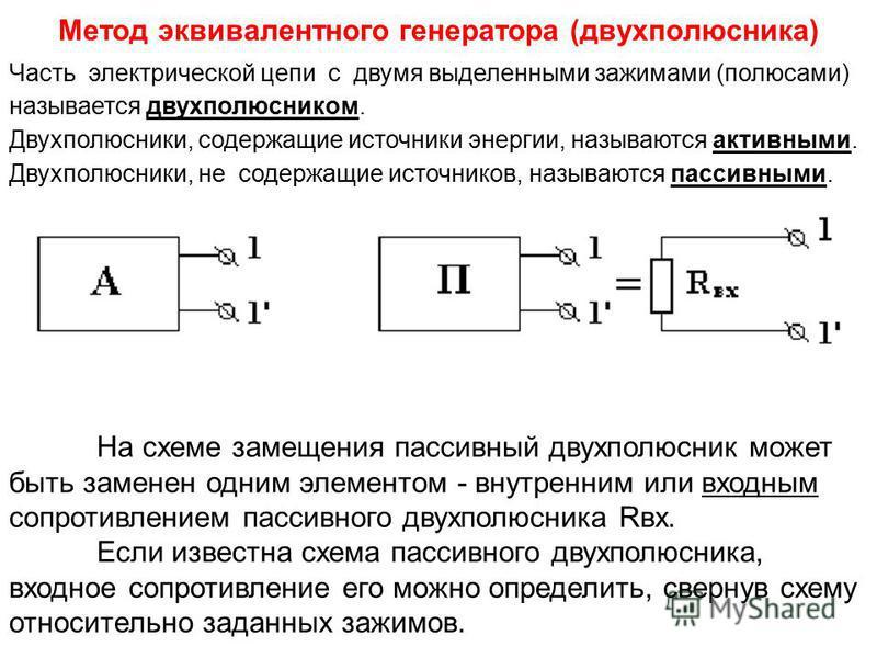 Метод эквивалентного генератора (двухполюсника) Часть электрической цепи с двумя выделенными зажимами (полюсами) называется двухполюсником. Двухполюсники, содержащие источники энергии, называются активными. Двухполюсники, не содержащие источников, на