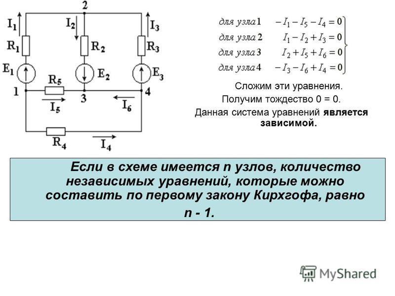 Сложим эти уравнения. Получим тождество 0 = 0. Данная система уравнений является зависимой. Если в схеме имеется n узлов, количество независимых уравнений, которые можно составить по первому закону Кирхгофа, равно n - 1.