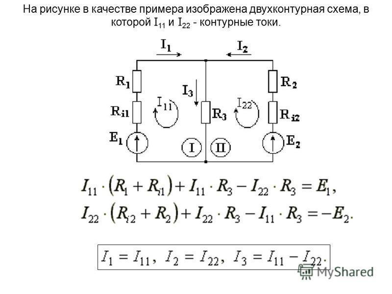 На рисунке в качестве примера изображена двухконтурная схема, в которой I 11 и I 22 - контурные токи.