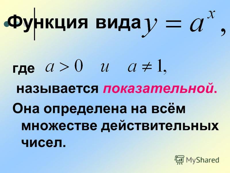где называется показательной. Она определена на всём множестве действительных чисел. Функция вида