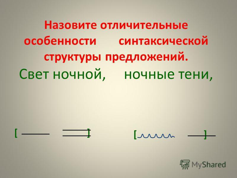Назовите отличительные особенности синтаксической структуры предложений. Свет ночной, ночные тени, [ ]