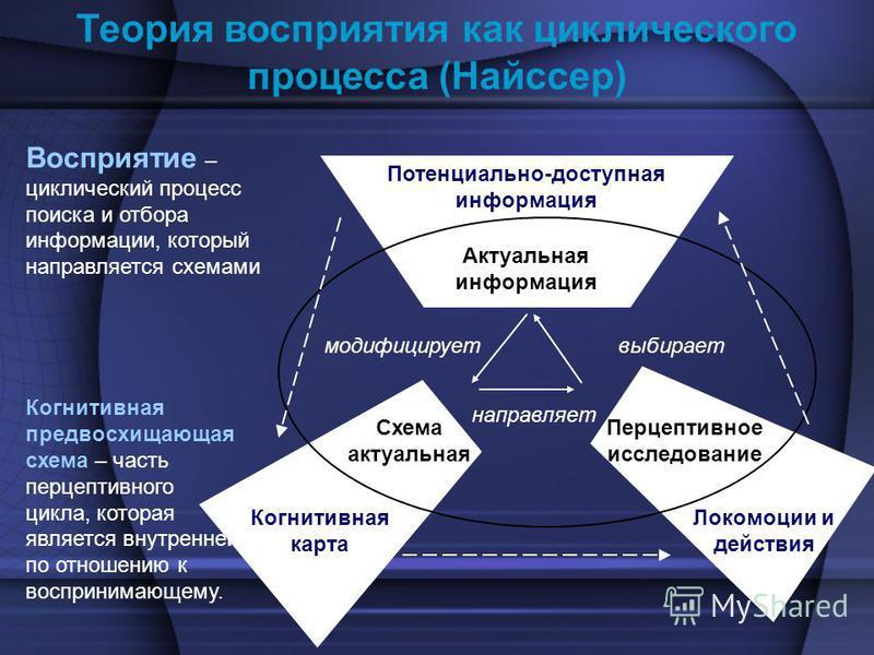 Теория восприятия как циклического процесса (Найссер) Восприятие – циклический процесс поиска и отбора информации, который направляется схемами Актуальная информация Схема актуальная модифицирует выбирает направляет Когнитивная карта Потенциально-дос