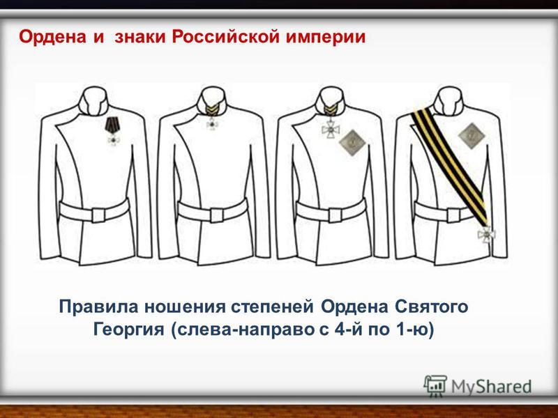 Правила ношения степеней Ордена Святого Георгия (слева-направо с 4-й по 1-ю) Ордена и знаки Российской империи