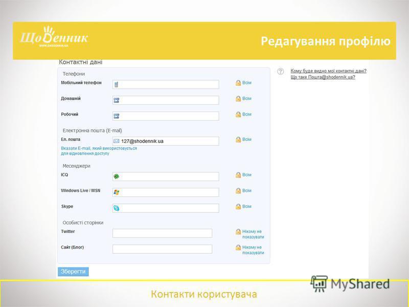 Контакти користувача Редагування профілю