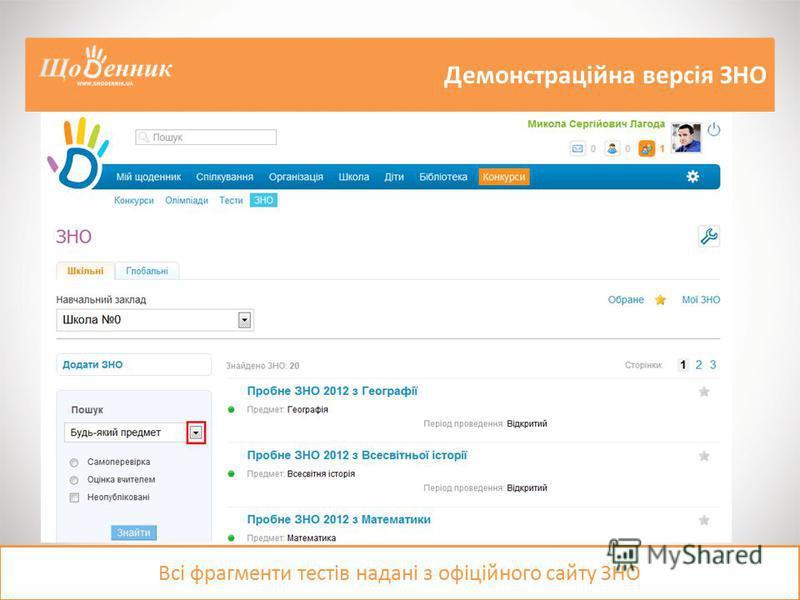 Демонстраційна версія ЗНО Всі фрагменти тестів надані з офіційного сайту ЗНО