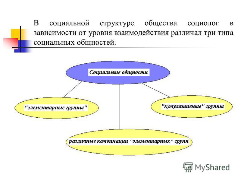 В социальной структуре общества социолог в зависимости от уровня взаимодействия различал три типа социальных общностей.