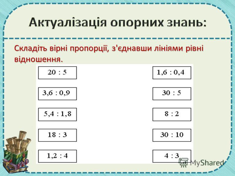 Складіть вірні пропорції, з'єднавши лініями рівні відношення.