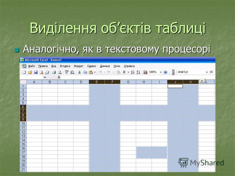 Виділення обєктів таблиці Аналогічно, як в текстовому процесорі Аналогічно, як в текстовому процесорі