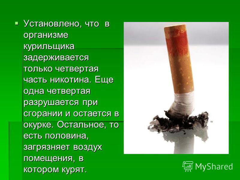 Установлено, что в организме курильщика задерживается только четвертая часть никотина. Еще одна четвертая разрушается при сгорании и остается в окурке. Остальное, то есть половина, загрязняет воздух помещения, в котором курят. Установлено, что в орга