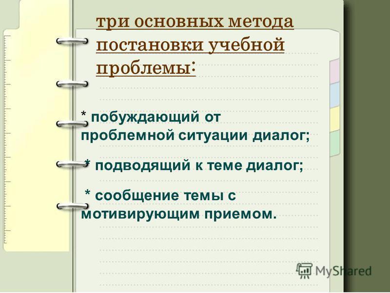 три основных метода постановки учебной проблемы: * побуждающий от проблемной ситуации диалог; * подводящий к теме диалог; * сообщение темы с мотивирующим приемом.