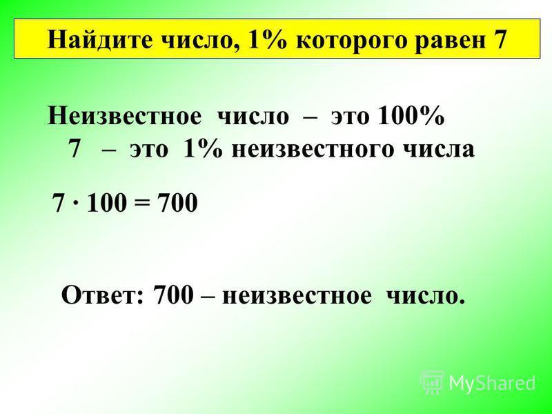 Нахождение числа по его проценту
