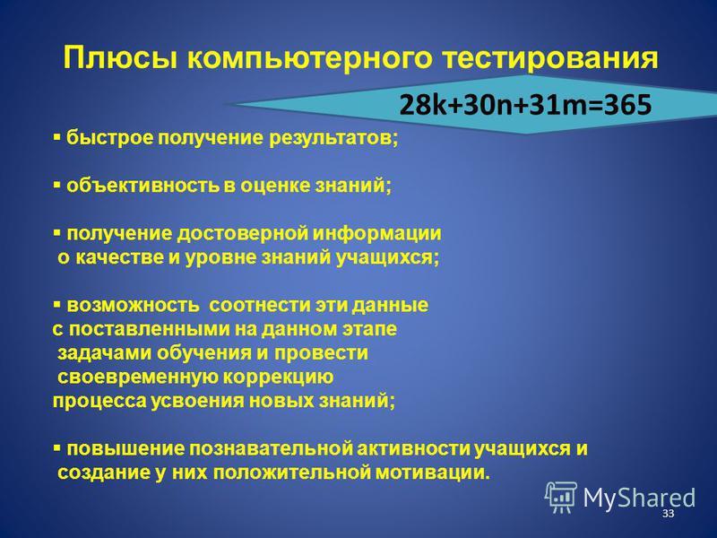32 Оборудование современного урока Доска Мел Тряпка Наглядные пособия Раздаточный материал Компьютер Проектор Экран Интерактивная доска 28k+30n+31m=365