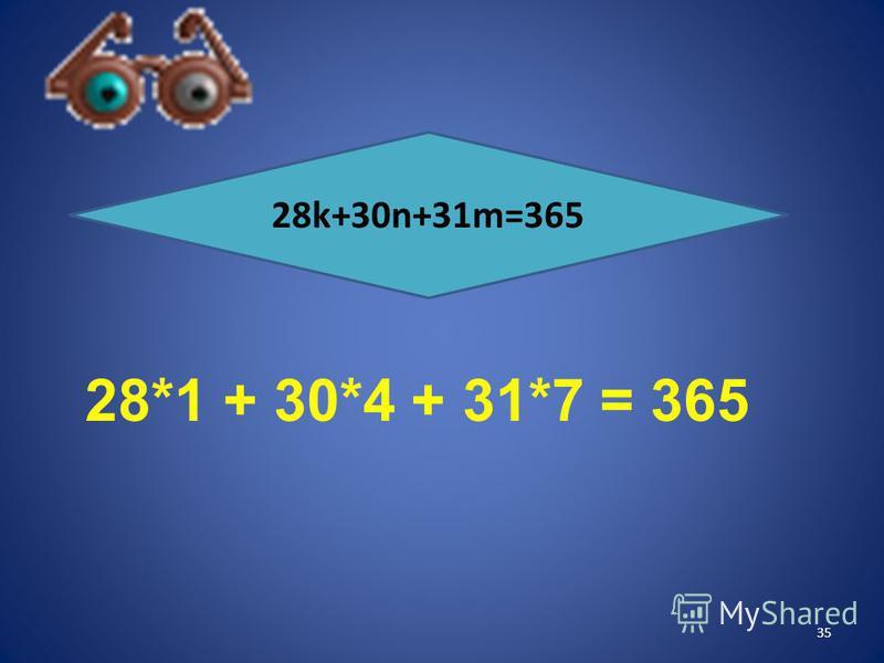 Решение практических задач 28k+30n+31m=365