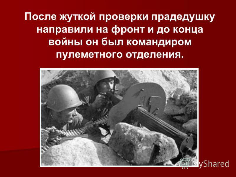 После жуткой проверки прадедушку направили на фронт и до конца войны он был командиром пулеметного отделения.