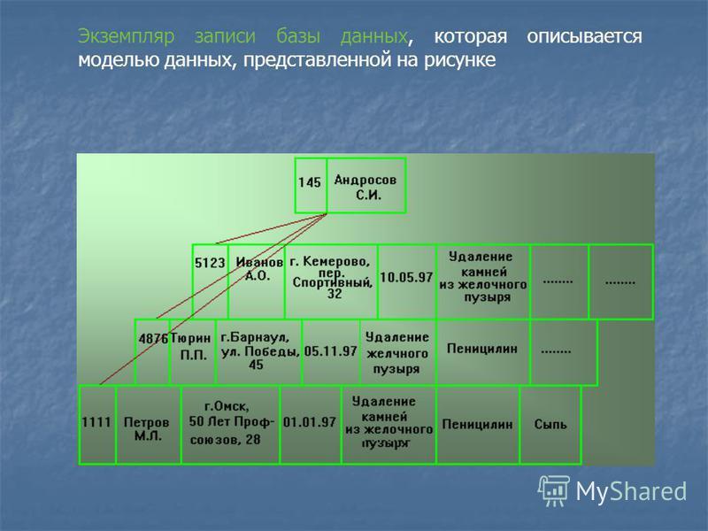 Экземпляр записи базы данных, которая описывается моделью данных, представленной на рисунке