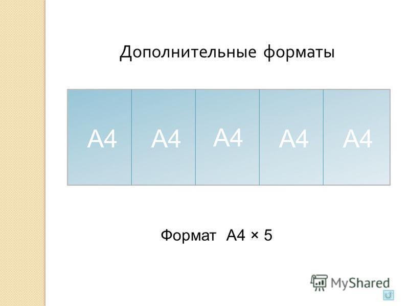 А4 Формат А4 × 5 Дополнительные форматы