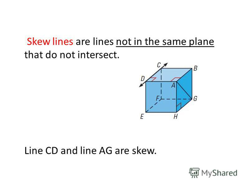 Skew lines are lines not in the same plane that do not intersect. Line CD and line AG are skew.