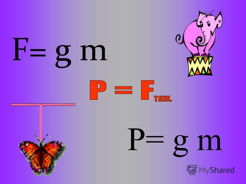 F= g m P= g m