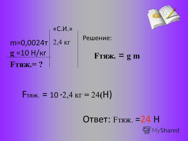 m=0,0024 т g =10 Н/кг Решение: 2,4 кг F тяж. = 10 ·2,4 кг = 24( Н) Ответ: Fтяж. =24 Н Fтяж.= ? Fтяж. = g m «С.И.»