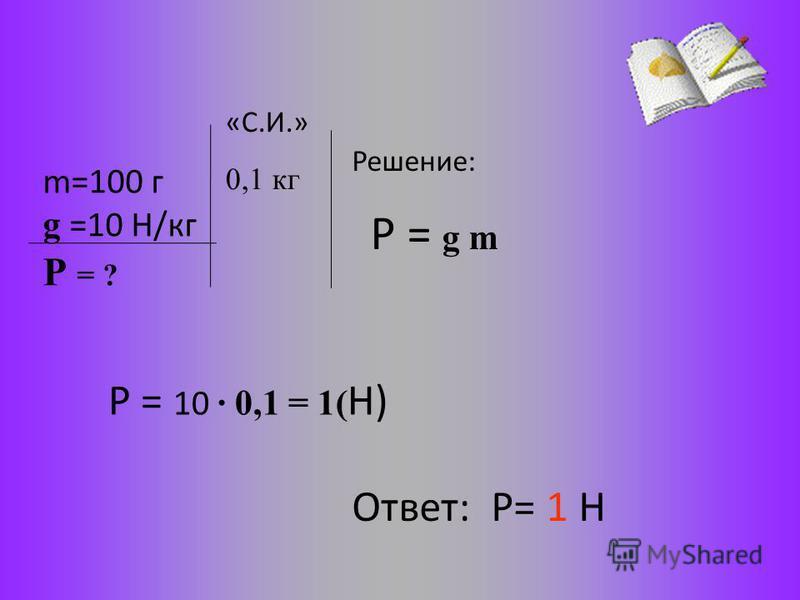 m=100 г g =10 Н/кг Решение: Р = g m Р = 10 · 0,1 = 1( Н) Ответ: Р= 1 Н Р = ? «С.И.» 0,1 кг