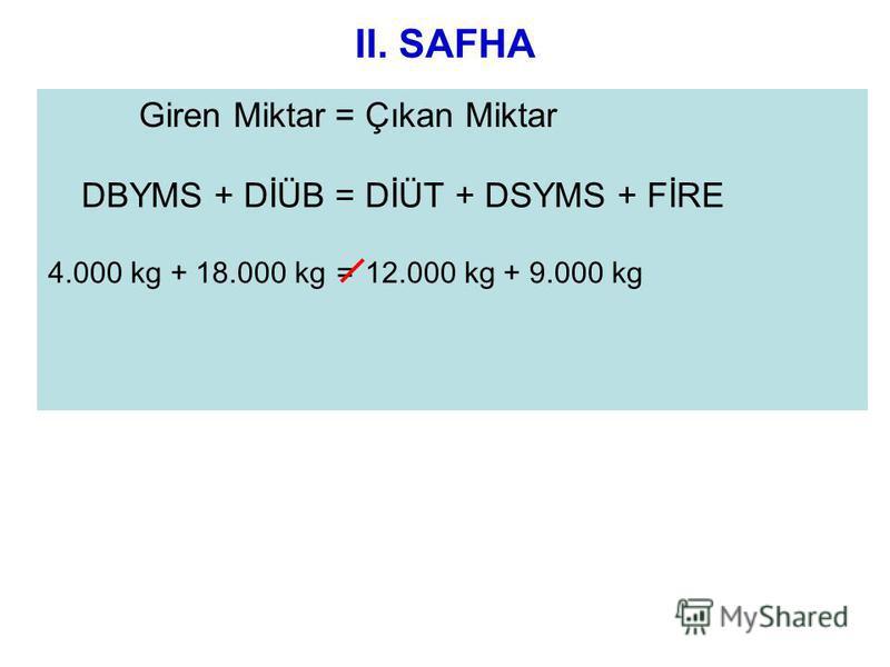 II. SAFHA Giren Miktar=Çıkan Miktar DBYMS + DİÜB=DİÜT + DSYMS + FİRE 4.000 kg + 18.000 kg=12.000 kg + 9.000 kg