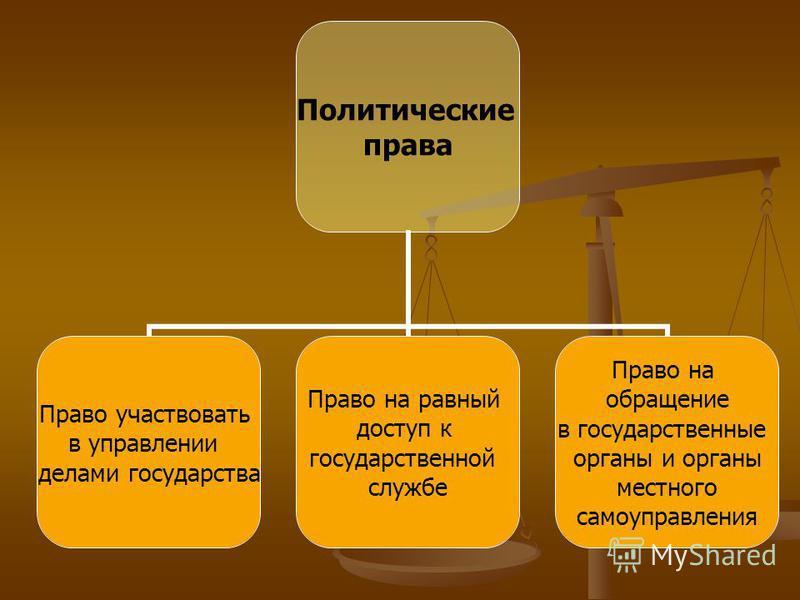 Политические права Право участвовать в управлении делами государства Право на равный доступ к государственной службе Право на обращение в государственные органы и органы местного самоуправления