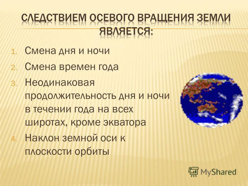 1. Смена дня и ночи 2. Смена времен года 3. Неодинаковая продолжительность дня и ночи в течении года на всех широтах, кроме экватора 4. Наклон земной оси к плоскости орбиты