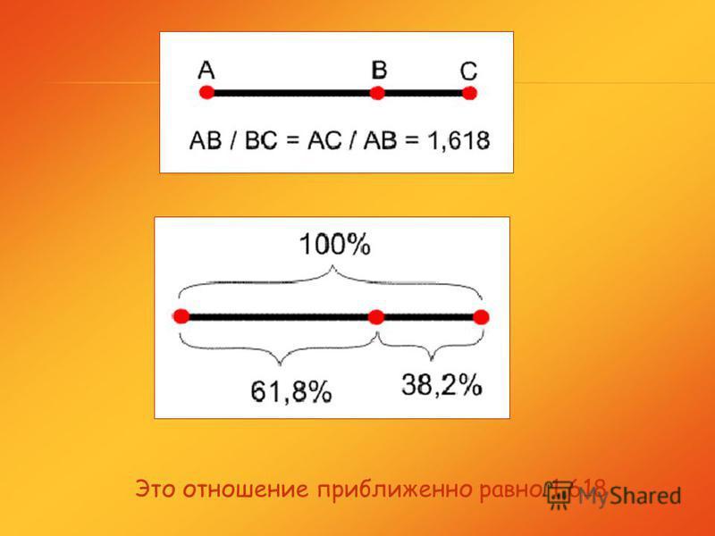 Золотое сечение – это деление отрезка, при котором длина всего отрезка относится к длине его большей части, как длина большей части к меньшей. ВА С