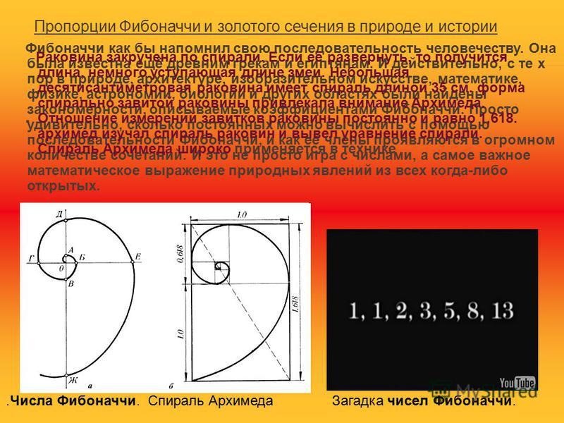 Последовательность Фибоначчи начинается так: 0, 1, 1, 2, 3, 5, 8, 13, 21, 34, 55, 89, 144, 233... Свойства последовательности Фибоначчи 1. Отношение каждого числа к последующему более и более стремится к 0.618 по увеличении порядкового номера. Отноше